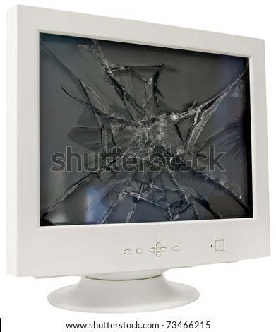 Broken CRT computer monitor isolated with clipping path