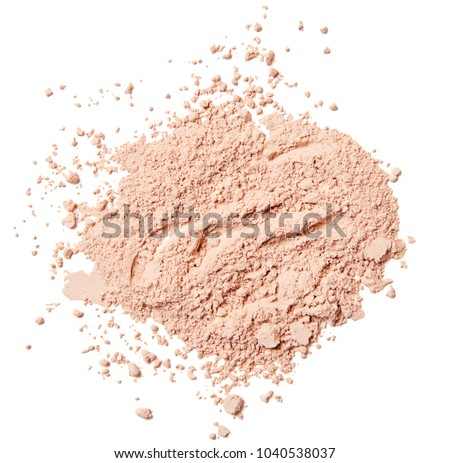 broken crumbled natural pink beige compact powder isolated on white background