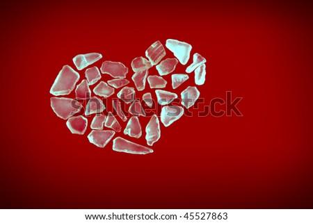 Red Crystal Heart Wallpaper 3d Render