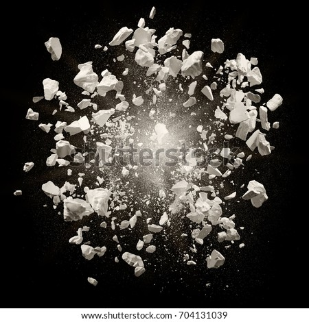broken debris caused by explosion against black background Foto d'archivio ©