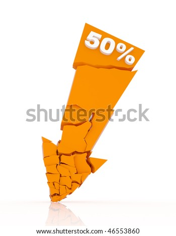 Broken discount arrow 50% off