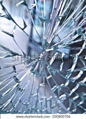 Broken door glass - stock photo