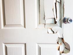 Broken door when the man forgot the key
