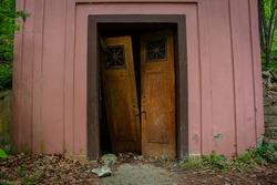 broken doors in old building