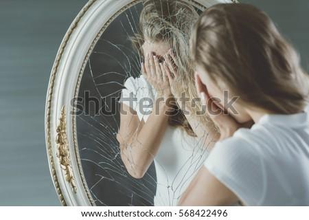 Broken down crying teenager with mental disease Сток-фото ©