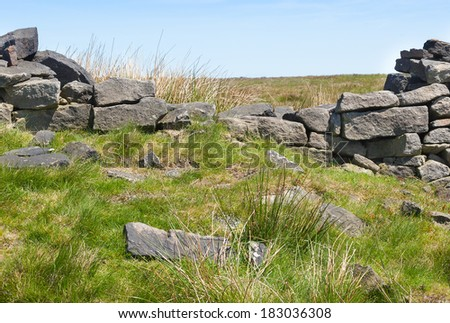 Broken dry stone wall on moorland