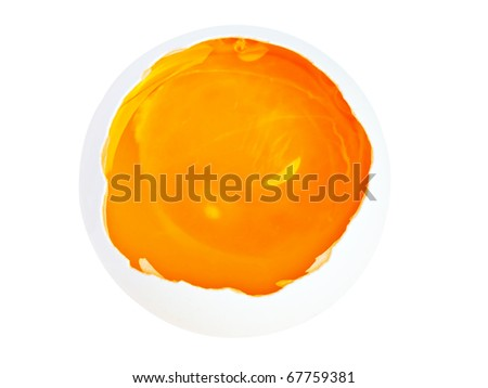 Broken egg seen from the top isolated on white with clipping path
