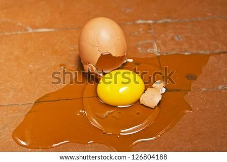 Broken egg with shell lying on the floor
