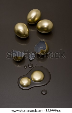 Broken eggs with a black background