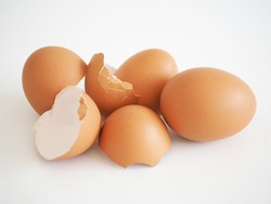Broken eggshell as source of natural calcium and protein nutrition. closeup photo, blurred.