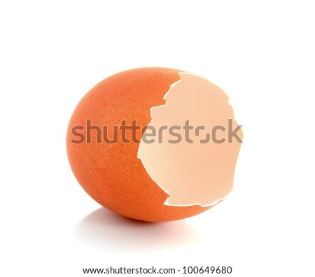 Broken eggshell ,isolated on white