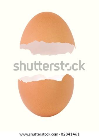 Broken empty egg shell isolated on white background