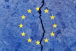 Broken EU (European Union) flag icon isolated on weathered cracked concrete wall background, abstract Europe political relationship divided conflicts concept pattern texture wallpaper