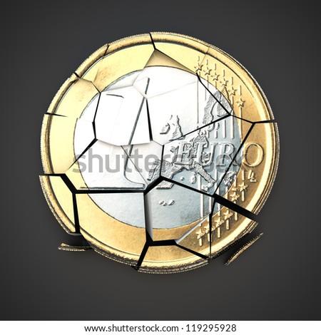 Broken euro coin