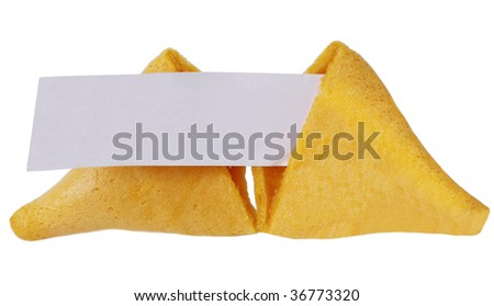 Broken fortune cookie in halves with blank message - stock photo