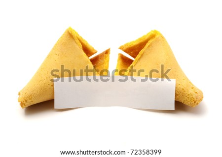 Broken fortune cookie with blank copyspace on a white background