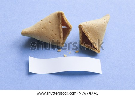 Broken fortune cookie with blank message