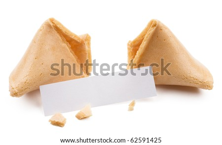Broken fortune cookie with blank slip isolated on white background.