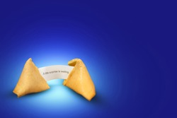 broken fortune cookie with fortune message, surprise in the near  future, modern gaphical fortune telling concept
