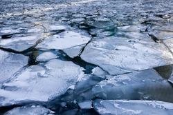 Broken Frozen Ice over the River