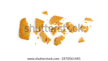 Broken Ginger Snap Isolated. Crumbled Rectangular Ginger Nut, Biscuit Square Cookies Crumbles and Pieces Foto stock ©
