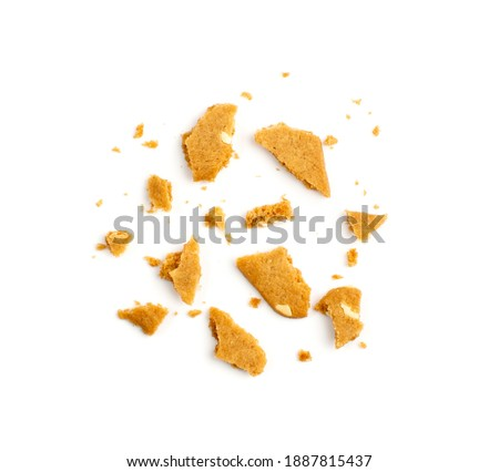 Broken Ginger Snap Isolated. Crumbled Rectangular Ginger Nut, Biscuit Square Cookies Crumbles and Pieces Photo stock ©