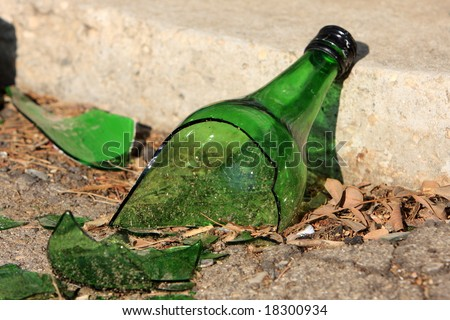 Broken Glass Bottle on Pavement