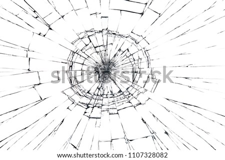 Broken glass craked isolated on white background ,hi resolution photo art abstract texture object design crash accident concept