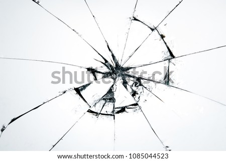 Broken glass craked on white background ,hi resolution photo art abstract texture object design