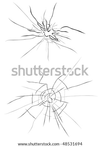 Broken glass for design isolated on white. Vector version is also available