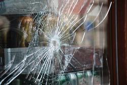 Broken glass in shop window display