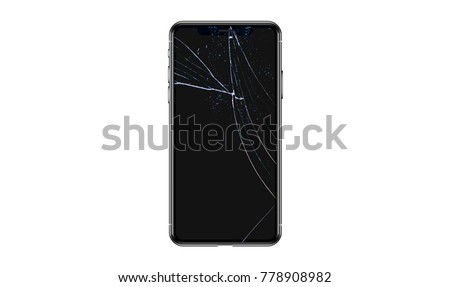 Broken glass on black background ,texture backdrop object design