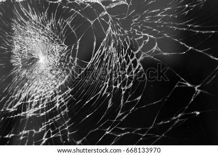 Broken glass on mobile phone, close up Stok fotoğraf ©