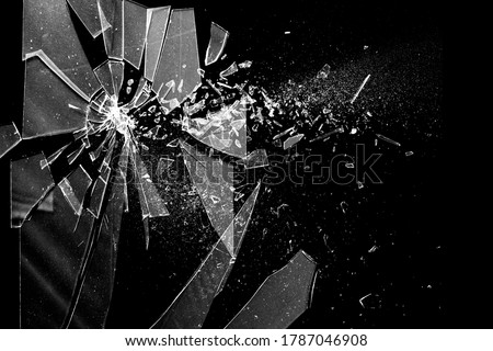 Broken glass on the black bachground. Texture of broken glass. Isolated realistic cracked glass effect. Template for design. 3D rendering