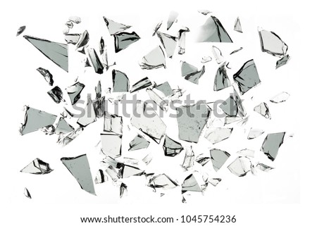 Broken glass on white background ,photo hi resolution  texture decoration backdrop object design