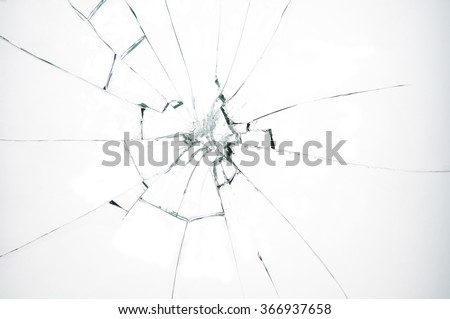 Broken glass on white background , texture backdrop object design