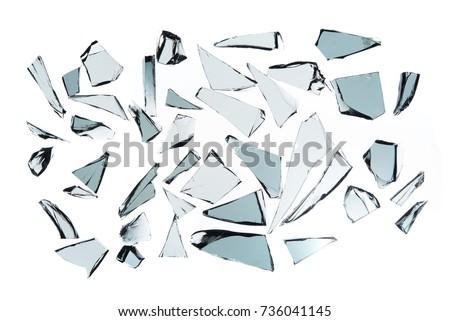 Broken glass on white background , texture decoration backdrop object design
