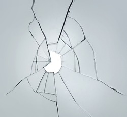 broken glass on white background with hole