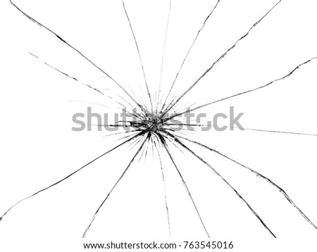 Broken glass on white isolated background. Textured abstract backdrop