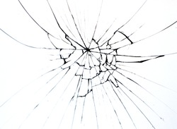 Broken glass on window isolated crack on white background. Cracks concept for design.