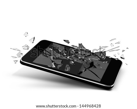broken glass smartphone phone cellular tablet pc design isolated black - stock photo