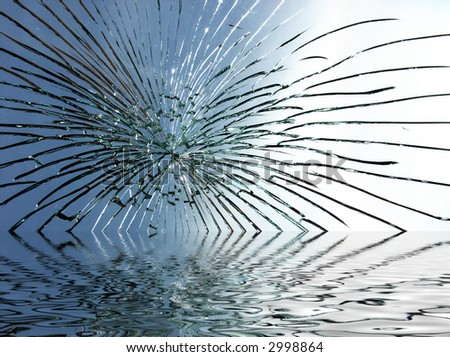 broken glass star pattern with water reflection underneath