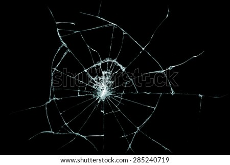 Broken glass texture. Isolated realistic cracked glass effect, concept element. #285240719