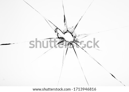 Broken glass texture with hole in center isolated on white background