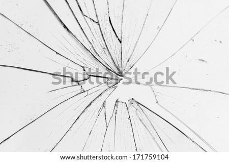 broken glass white background