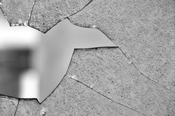 Broken glass window cracked surface texture. Black and white.