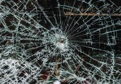 Broken glass window damage showcase