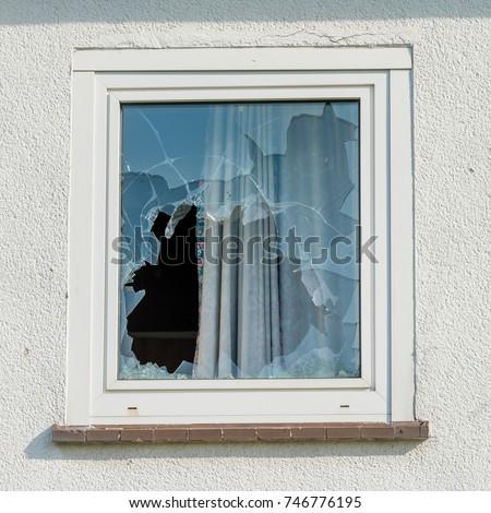 Broken glass window outside #746776195