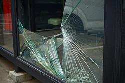 broken glass window , Shattered glass Pieces.