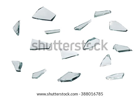 broken glass with sharp Pieces isolated on white background